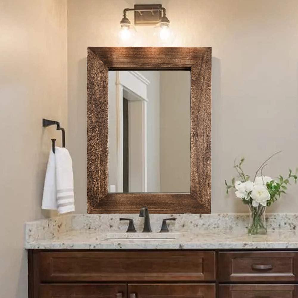 Rustic Wood Wall Mirror for Bathroom, 24