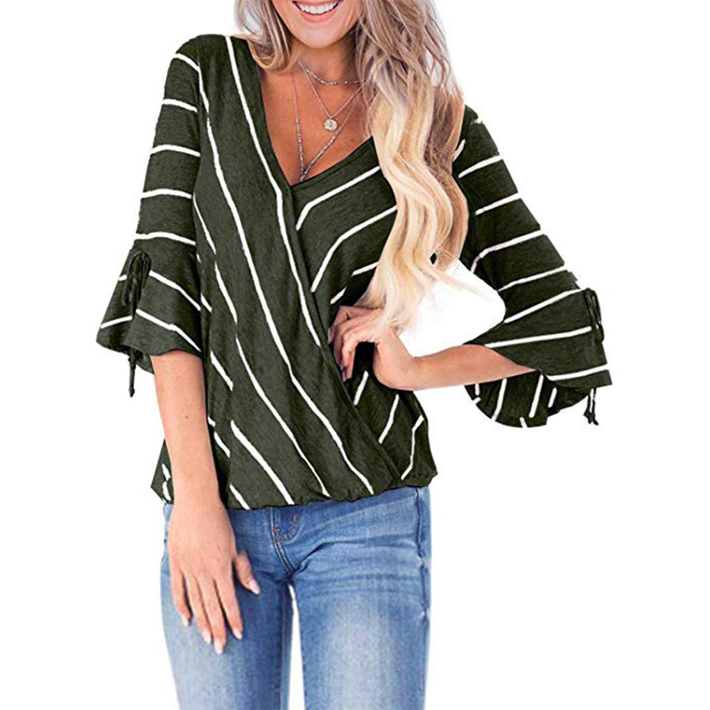 LONGDAY Women Casual T-Shirt Wrap V-Neck Flare Sleeve Shirt Summer Loose Blouse Striped Top Tunic Ladies Pullover Basic Green by LONGDAY-Women Tops (Image #1)
