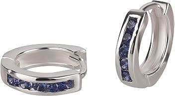 FIVE-D Ohrringe Creolen mit Kristallen Klappcreolen 925 Silber in Geschenkverpackung