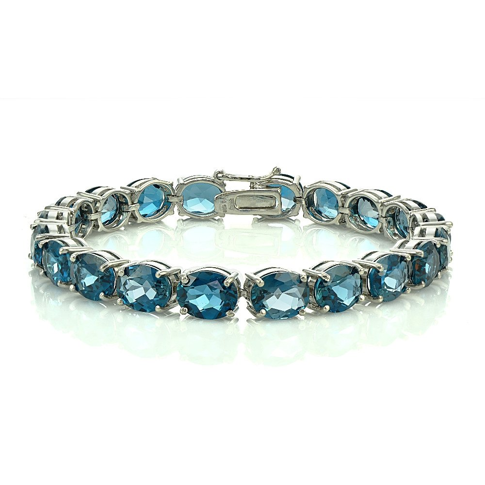 Sterling Silver London Blue Topaz 9x7mm Oval Tennis Bracelet