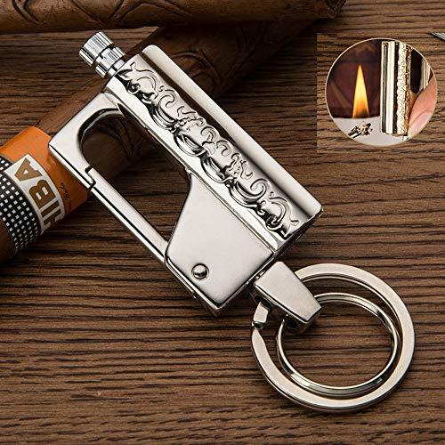 BOLLAER Camping Emergency Fire Starters Flint Match Lighter Keychain, Matchstick Fire Starter Great Kerosene Refillable…
