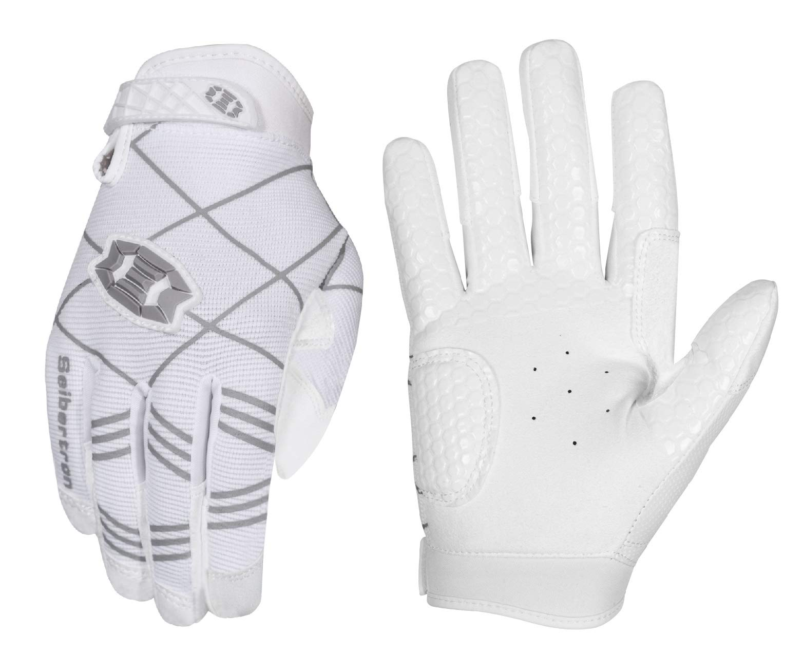 Seibertron B-A-R PRO 2.0 Signature Baseball/Softball Batting Gloves Super Grip Finger Fit for Youth (White,XS)