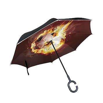 FOLPPLY - Paraguas invertido de Fuego, balón de fútbol, Doble Capa, Paraguas inverso