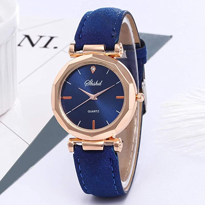 Amazon.com: Womens Wrist Watch Analog Quartz with PU Leather Strap and Round Dial Casual Classic Date Watches Daily Style (Blue): Watches
