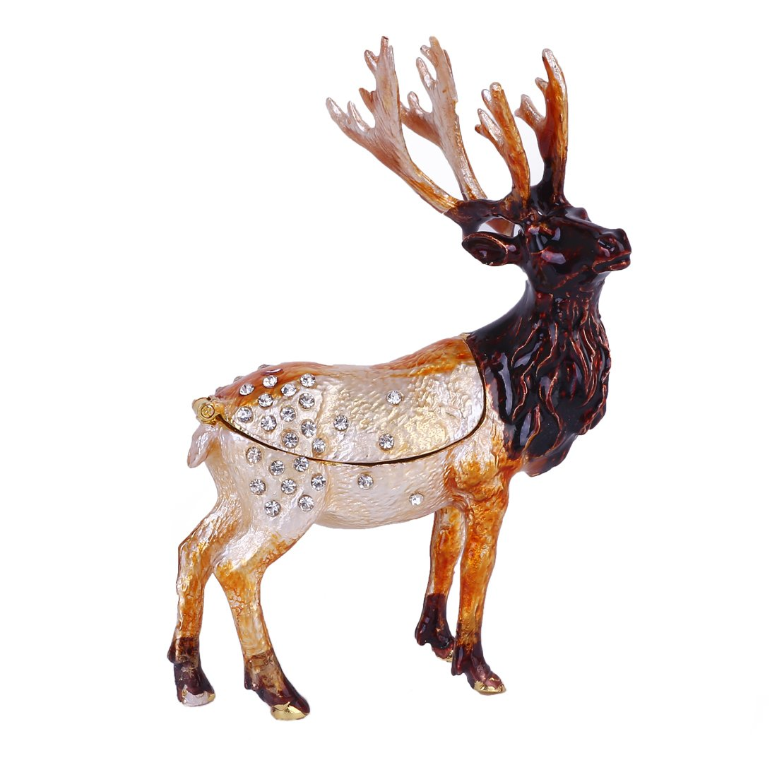 MICG Christmas Deer Trinket Box Hinged for Girls Animal Figurine Collectible Wedding Ring Holder Favor Metal Table Centerpiece by MICG