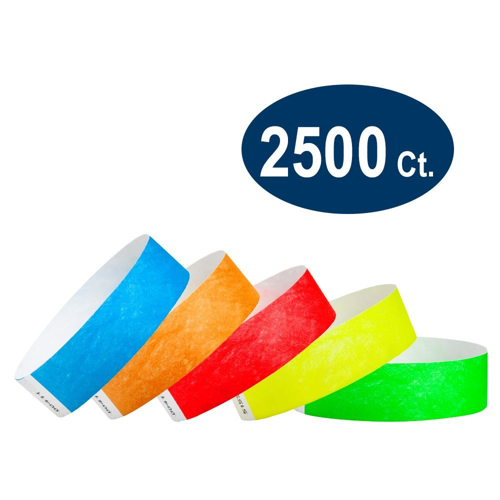 WristCo Variety Pack 3/4'' Tyvek Wristbands - Red, Orange, Yellow, Green, Blue - 2500 Pack Paper Wristbands for Events