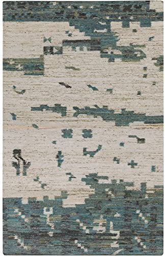 Surya Hand Woven Casual Accent Rug, 2 by 3-Feet, Teal Olive Light Gray Beige Forest