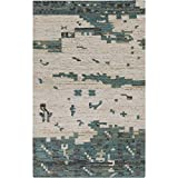 Surya RUT702-3353 Hand Woven Casual Accent Rug, 3-Feet 3-Inch by 5-Feet 3-Inch, Teal/Olive/Light Gray/Beige/Forest For Sale