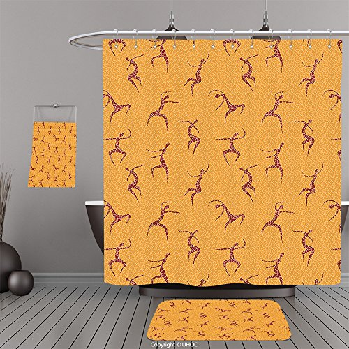 Uhoo Bathroom Suits & Shower Curtains Floor Mats And Bath TowelsAfrican Decorations Collection Physical Anatomic Dancing African Man Figures above Fragmentary Tiles Boho Artwork Orange RedFor Bathroom