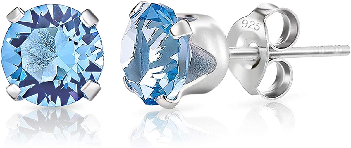 DTPsilver - Semental Pendientes/Aretes de Plata de Ley 925 con Cristal Swarovski® Elements Redondo - Diámetro: 6 mm