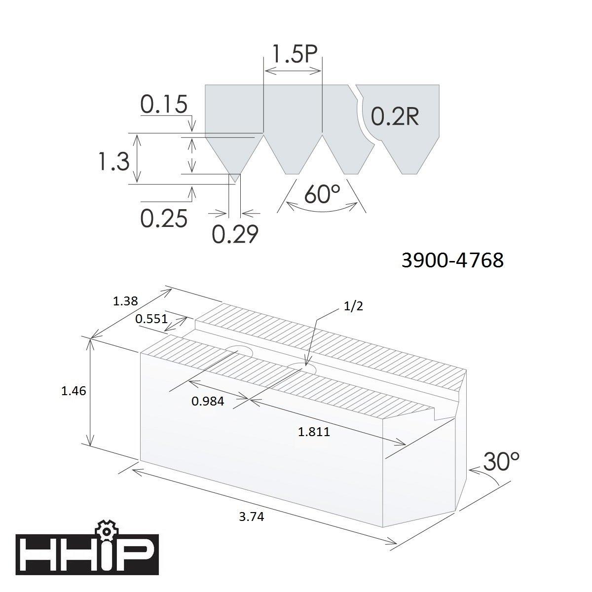 TAIKI 3900-4764 3 Piece Aluminum Soft Jaw Set 4 x 1.5 mm x 60 Degree