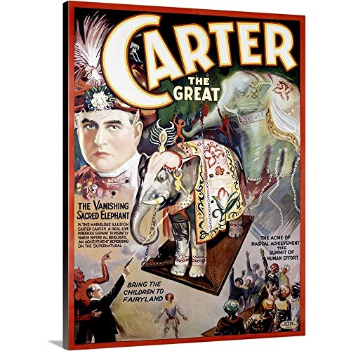 Canvas on Demand Premium Thick-Wrap Canvas Wall Art Print entitled Carter the Great, The Vanishing Sacred Elephant, Vintage Poster 18