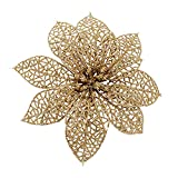 Crazy Night (Pack of 10 Glitter Gold Poinsettia Christmas Tree Ornaments (Gold)