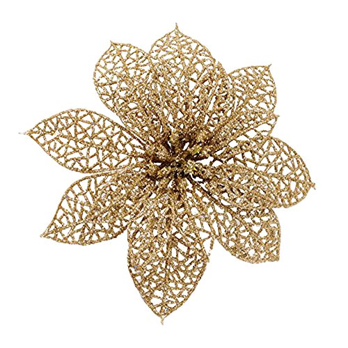 Christmas Poinsettias - Crazy Night (Pack of 10) Glitter Gold Poinsettia Christmas Tree Ornaments (Gold)