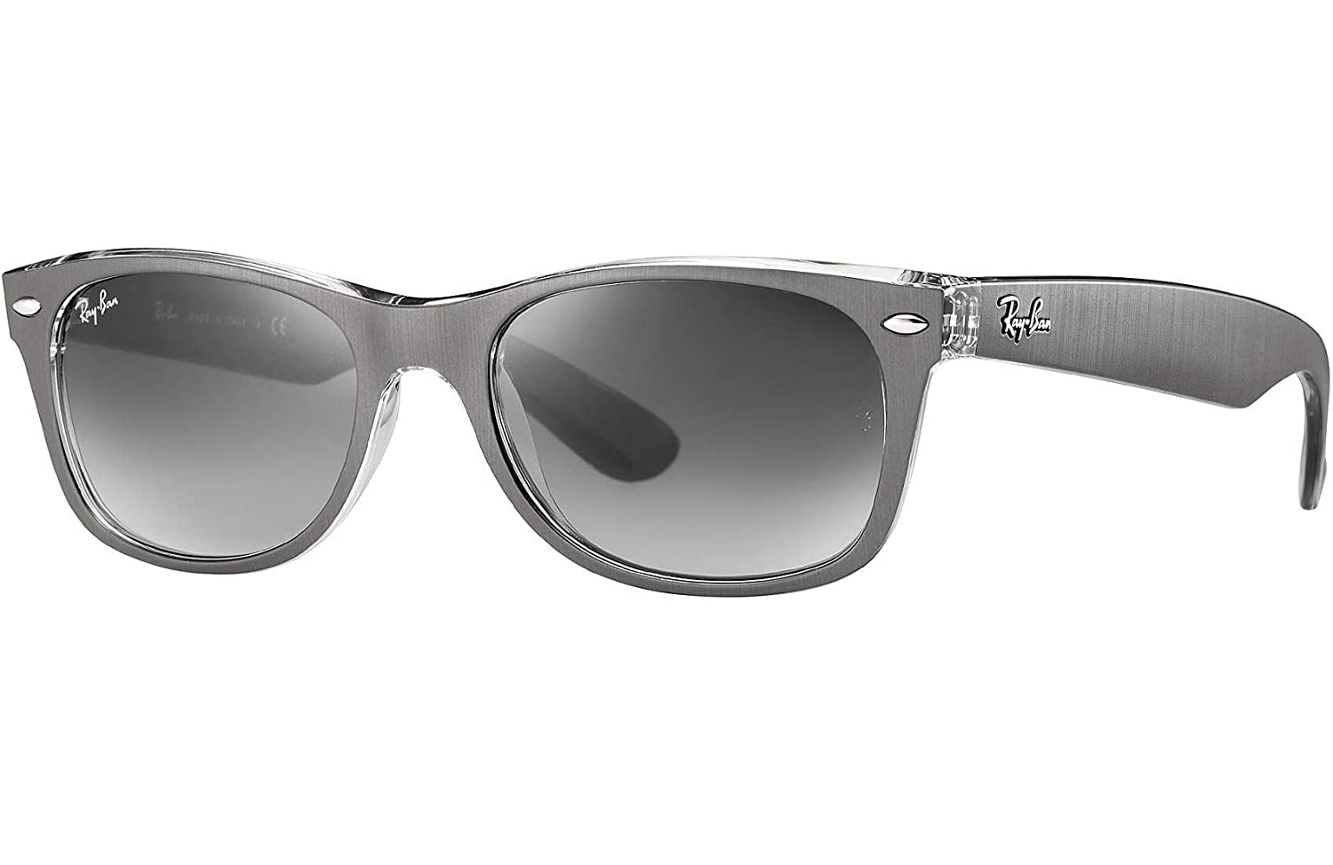 49f12109e5 Amazon.com  Ray Ban RB2132 614371 55 Gunmetal Clear New Wayfarer Sunglasses  Bundle-2 Items  Clothing