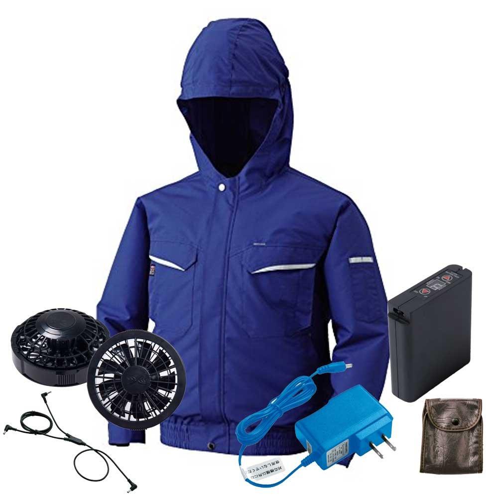 空調服 フード付ブルゾン黒ファンバッテリーセット KU90482 B07DWKBGZ4 M 4ブルー 4ブルー M