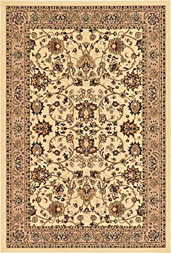 Unique Loom Kashan Collection Traditional Floral Overall Pattern with Border Ivory Area Rug (6' 0 x 9' 0) (Floral Area Rug Ivory)