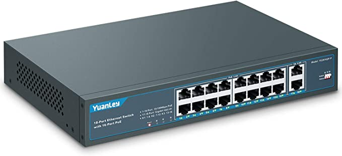Yuanley 10 Port Fast Ethernet Poe Switch 8 Port Poe 2 Computers Accessories
