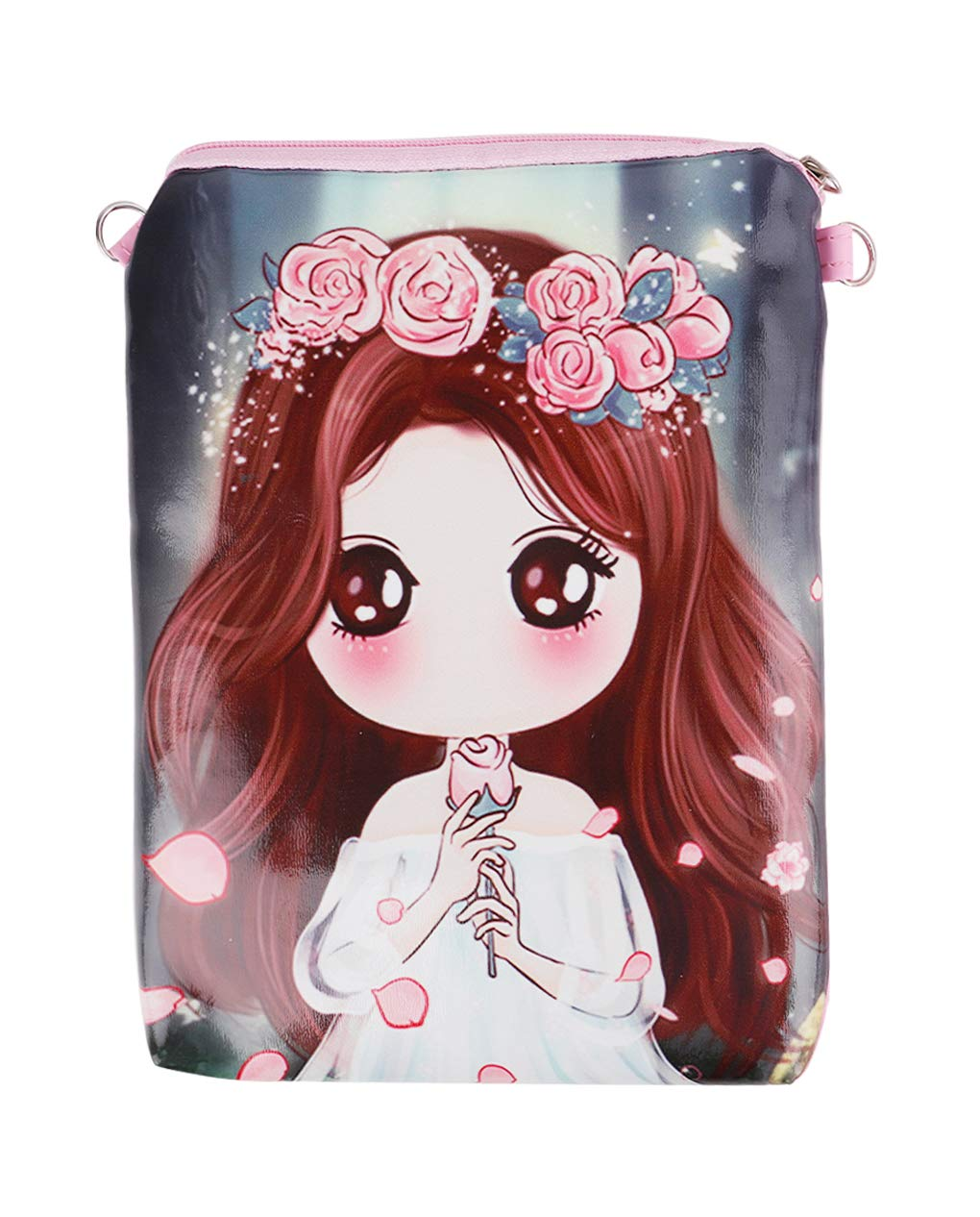 Fakeface Girls Cartoon Crossbody Bags PU Leather Keys Cell Phone Holders Purse Pouches, Xmas Gift