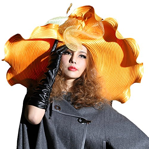 June's Young Women Hat Church Hat Big Wave Brim Mesh Exaggerated Style (Gold) by June's Young