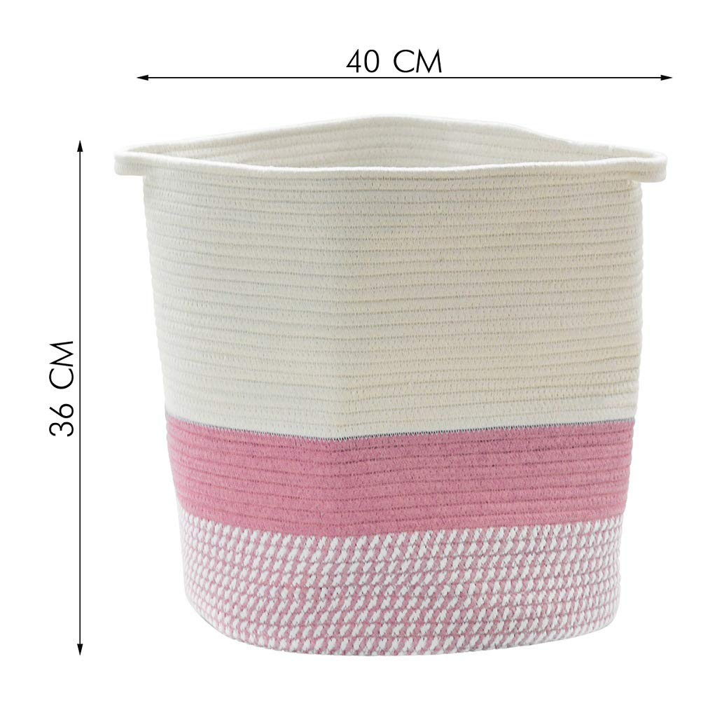 Woven Baskets Baby Toy Storage-Home Storage Containers RAVCON 14 x 15.7 Extra Large Cotton Rope Basket Cotton Thread Nursery Storage Bins Laundry Basket