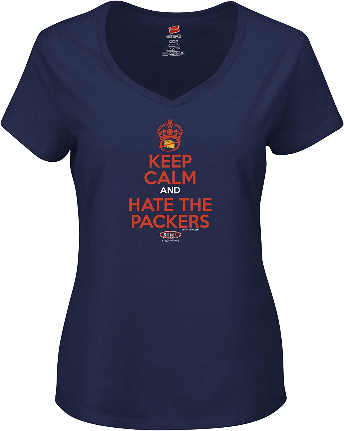 Smack Apparel Chicago Football Fans Navy Ladies T-Shirt Keep Calm and Hate The Packers Xs-2X