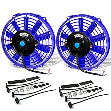 Blue 9 Inch High Performance 12V Electric Slim Radiator Cooling Fan w//Mounting Kit Pack of 2