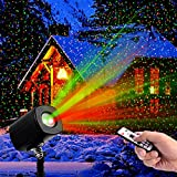 Christmas Laser Lights,Outdoor Projector lights with Remote Control by Clustars ,IP65 Waterproof,Red and Green Laser Light Show Garden Spotlight For Xmas Holiday Party Landscape Decoration
