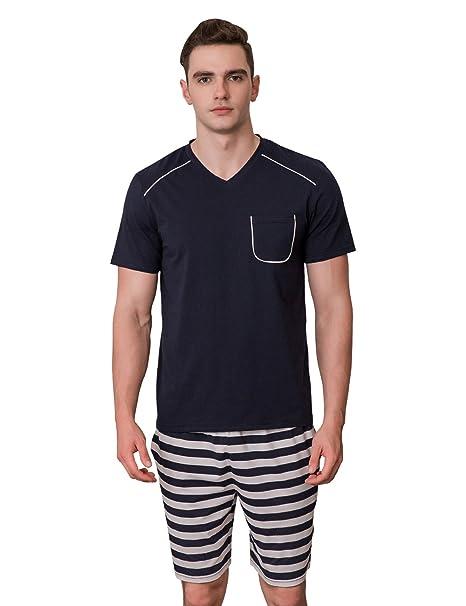 7ad4e1f6279d Uomo Pigiami e Abbigliamento da Notte Estate Pigiami Due Pezzi Indumenti da  Notte Loungewear in Cotone
