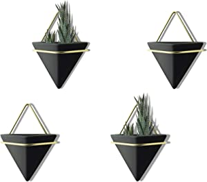 PUDDING CABIN 4 Set Small Wall Planters, Hanging Planters Wall Vase for Succulents Air, Mini Cactus, Faux Plants, Geometric Planters for Wall Decor,Air Plant Container for Home and Office Decor