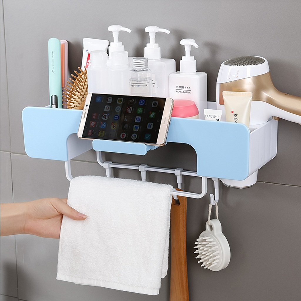 1 storey bathroom shelf shower caddy bathroom basket storage rack perforated wall-mounted suction cup bathroom rack plastic storage rack (Color : B)