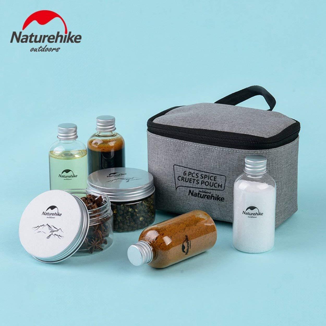 Lorenlli 6pcs /épices croquettes pochette assaisonnement pot affaire bouteilles /à condiment ensemble portable pour camping barbecue pique-nique avec organiser transporter sac