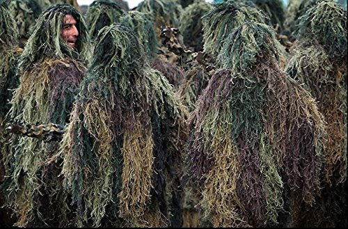 Ghillie Sniper Costume (Langxun Adults Woodland Camouflage Ghillie for Hunting, Wargames, Wildlife Photography and Halloween)