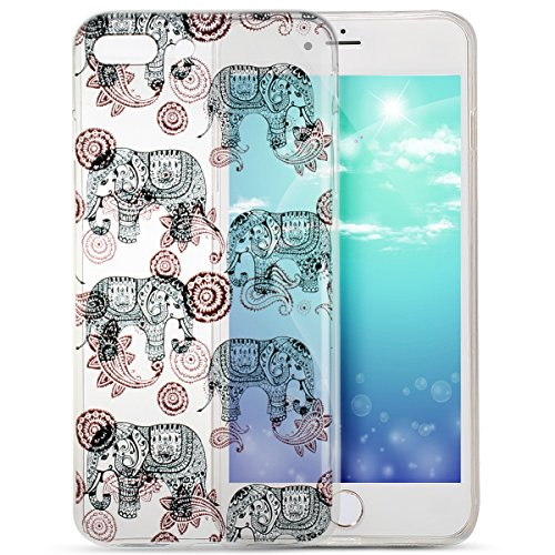 Price comparison product image iPhone 8 Plus Case,iPhone 7 Plus Case,ikasus Colorful Painted Ultra Transparent Thin Soft TPU Silicone Rubber Bumper Case,Crystal Clear Silicone Case for iPhone 8 Plus / 7 Plus,Tribal Flower Elephant
