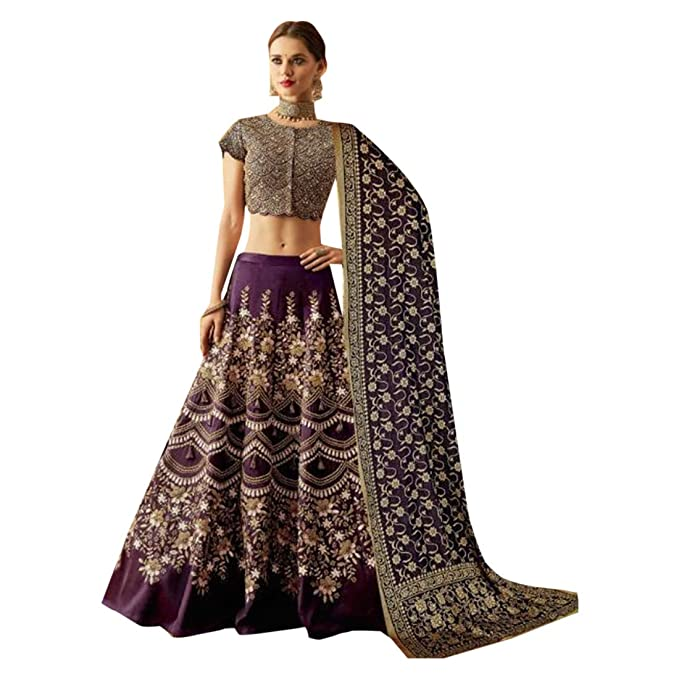 1bf395f5c Image Unavailable. Image not available for. Colour: Purple Indian  Traditional Party Taffeta Silk Embroidered Designer Lehenga choli Women wear  Semi-stitched ...