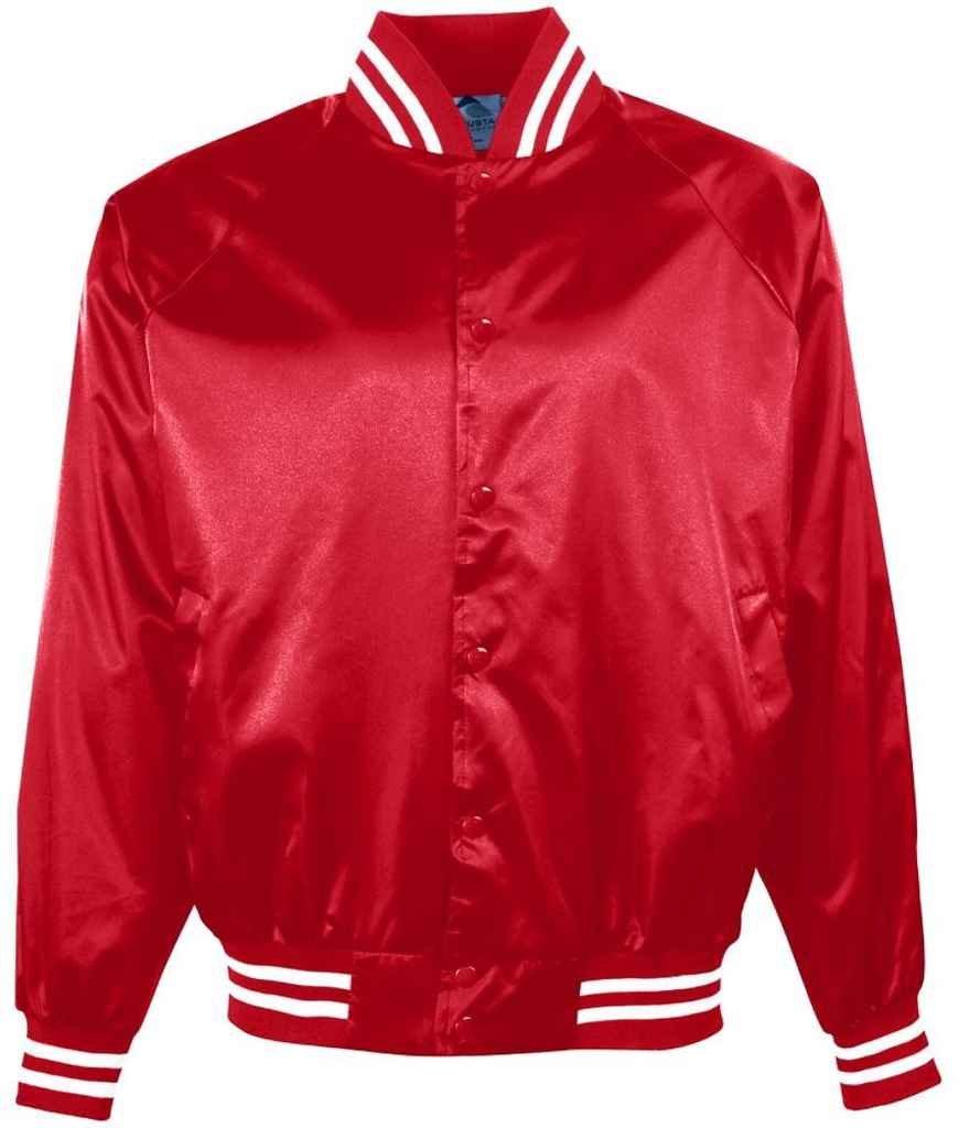 Augusta Sportswear Boys 'サテンBBLL JKT /ストライプTRM B00ID7HX6G Medium|レッド/ホワイト レッド/ホワイト Medium