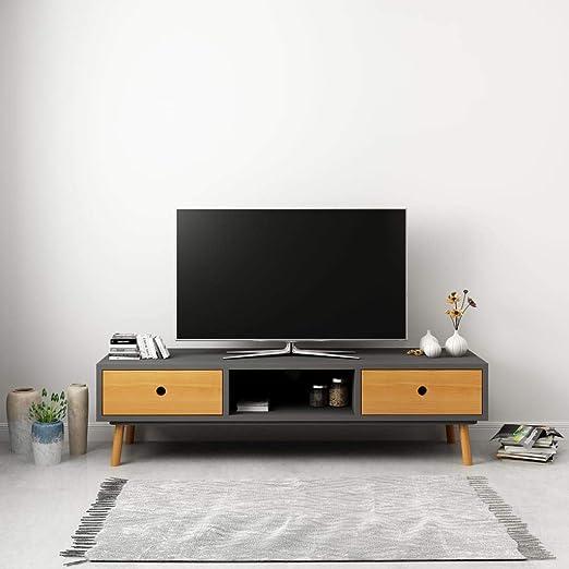 UnfadeMemory Mueble para TV con 2 Cajones y 1 Compartimento,Mesa para TV,Armario para Equipos,Estilo Escandinavo,Madera Maciza de Pino,120x35x35cm (Gris y Marrón): Amazon.es: Hogar