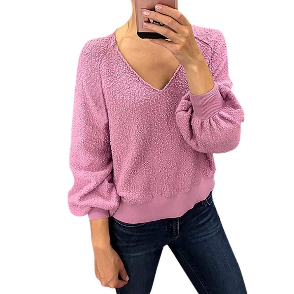 Orangeskycn Fashion Women Velvet Sweater Lantern Sleeve Solid V-Neck Top