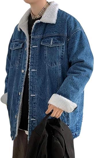 PPEIREEジージャン メンズ 秋冬 デニムジャケット 裏起毛 ブルゾン 厚手デニムコート ゆったり 長袖 アウター オーバーサイズ 防寒 デニムコート あったか