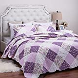"Printed Quilt Coverlet Set King Lilac Floral Patchwork Pattern Lightweight Hypoallergenic Microfiber ""Daydream"" by Bedsure"