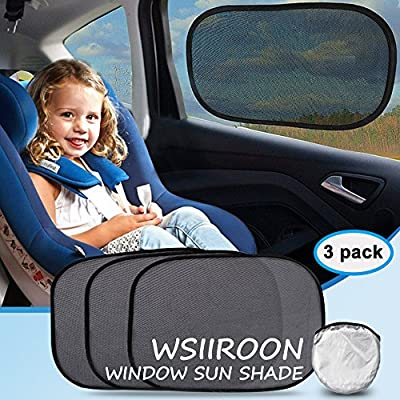 """Car Sun shade, Wsiiroon Car Window Shade For Car Windows, Maximum UV Rays Protection For Your Child, Extra large, 21""""x14""""sunshades(3 Pack )"""