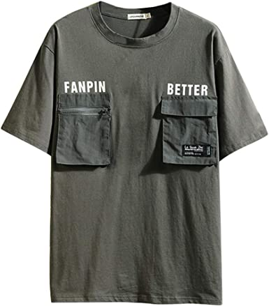 HucodeVan Camiseta de Manga Corta Hombre Moda Casual T-Shirt Carta ...