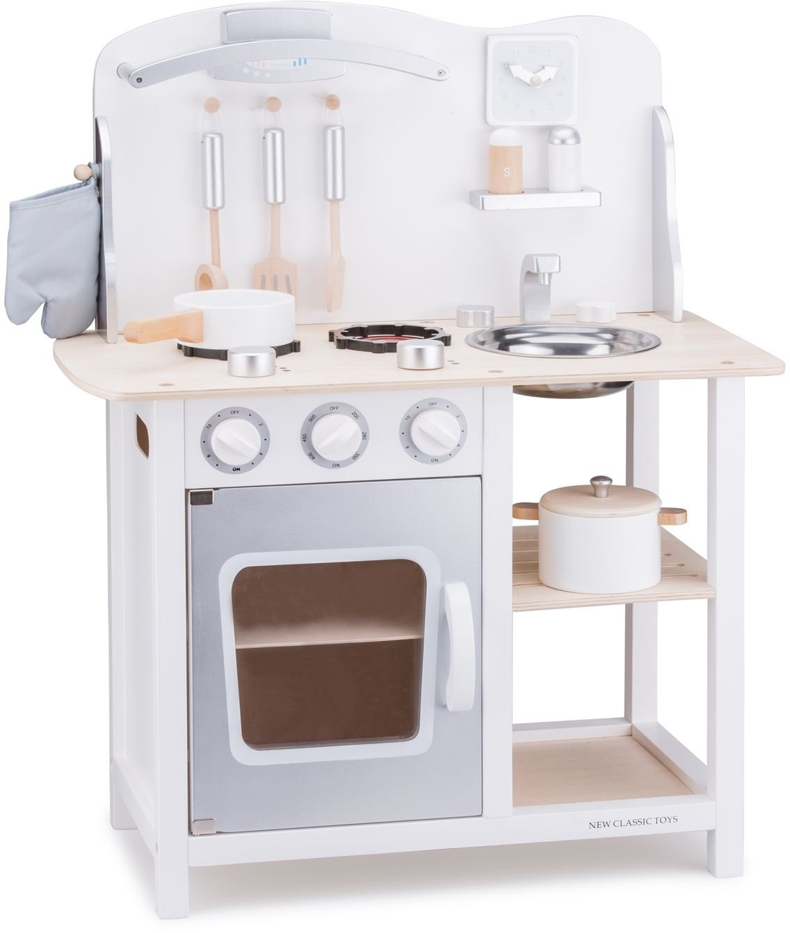 New Classic Toys - 11053 - Kitchen & Food Toys - Play Kitchen - Bon Appetit Playset - White - Including Accessories