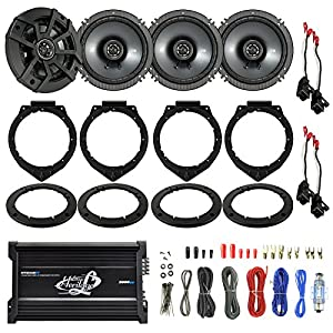 "4x Kicker CSC654 600-Watt 6.5"" Inch 2-Way Black Coaxial Speakers Bundle Combo With 4x Speaker Adapters and Wire Harness Fits Select GM Vehicles + 2000W 4-Channel Bluetooth Amplifier W/ 8G Amp Kit"