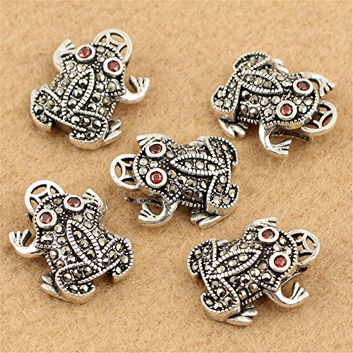 MFMei Thai Sterling Silver Marcasite Frog Dangle Bead (CY146)