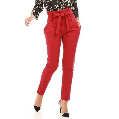 5e46d3ef3af0d La Modeuse - Pantalon cigarette femme taille haute: Amazon.fr ...