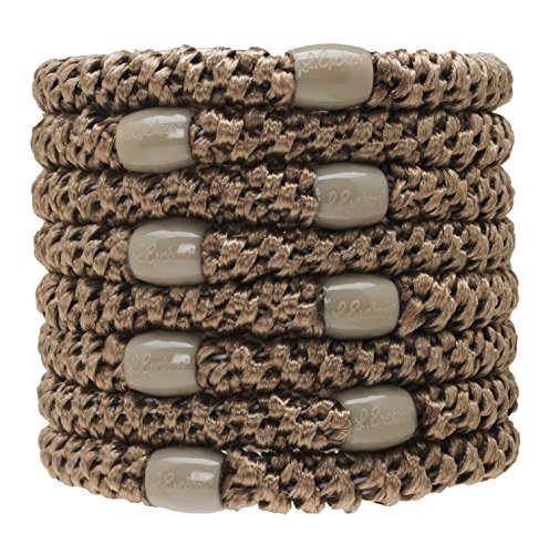 L. Erickson Grab & Go Ponytail Holders, Camel, Set of Eight - Exceptionally Secure with Gentle Hold