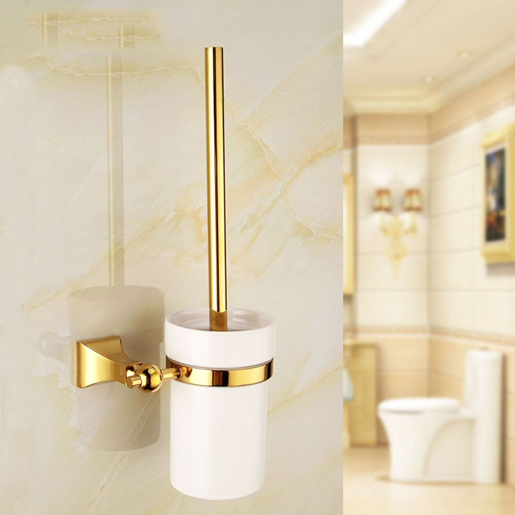 ZGP Toilet accessories Bathroom Toilet Brush Holder Copper Toilet Brush Golden Cleaning Brush Ceramic Cup Toilet Brush Holder by ZGP