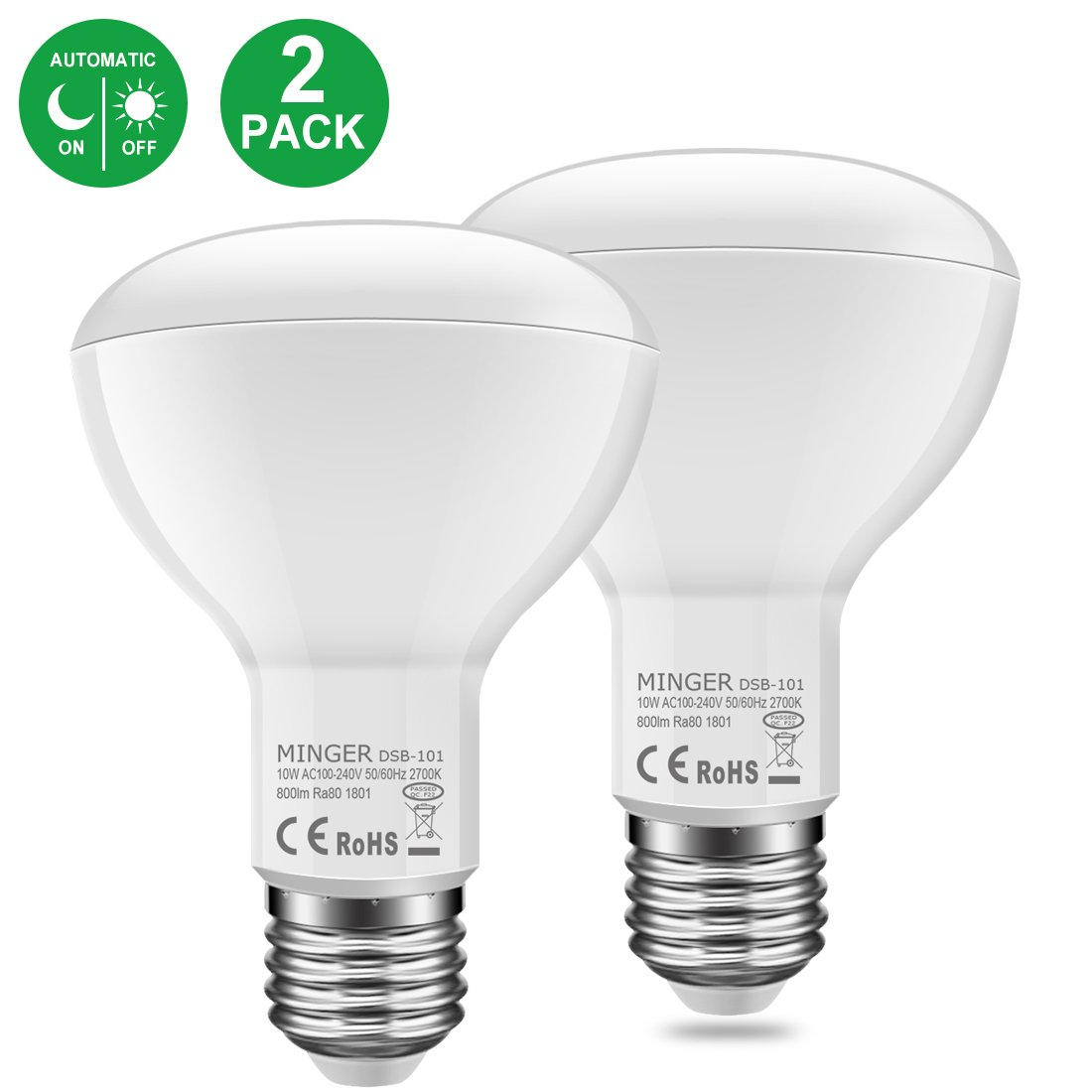 MINGER 10W Dusk to Dawn BR30 LED Bulb Light, Auto Turn On Off, 60W Equivalent, 800 Lumens Soft White 2700K, E27 Base, 120°Beam Angle Spotlight, for Indoor and Outdoor 2 Pack