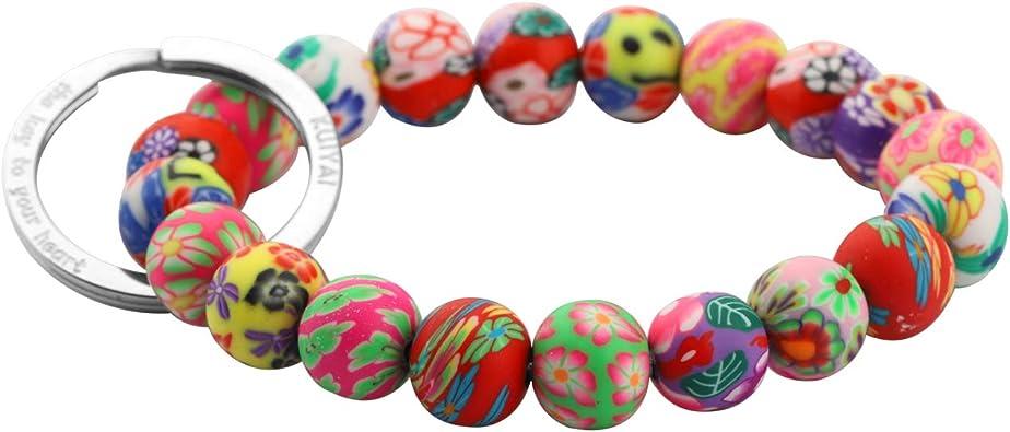 10mm Flower glass beads silver links bracelet  Multi color beads Girls small bracelet